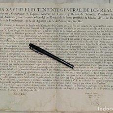 Militaria: 1815 CARTEL DESERCIÓN REGIMIENTO IBERIA EN RIVABELLOSA VITORIA VALENCIA. Lote 196315576