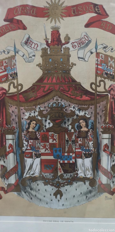 Militaria: Antigua lámina policromada con el escudo real de España NO TIENE CRISTAL - Foto 2 - 196362881