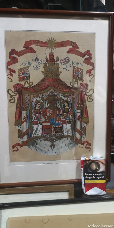 Militaria: Antigua lámina policromada con el escudo real de España NO TIENE CRISTAL - Foto 3 - 196362881