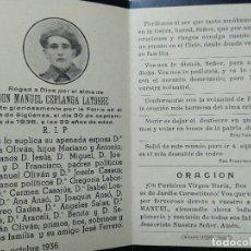 Militaria: IN MEMORIAM MURIO EN EL FRENTE DE SIGÜENZA 1936. ORACIÓN TAUSTE, ZARAGOZA. Lote 196658205