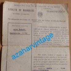 Militaria: 1949, PASAPORTE CONCEDIDO A LEGIONARIO PARA VIAJAR DESDE LARACHE A CADIZ. Lote 197392942