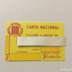 Militaria: CATALANISMO - ANTIGUO CARNET - CARTA NACIONAL - CONSELL NACIONAL CATALÁ LLIURADA A PETICIÓN LONDRES. Lote 197657518