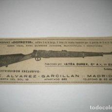 Militaria: CARABINAS DESTROYER. PUBLICIDAD DE REVISTA DE LOS AÑOS 50. AYRA DUREX, EIBAR. Lote 198836902
