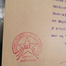 Militaria: CARTAGENA UGT 1938 DOCUMENTO BASE NAVAL. Lote 199235406