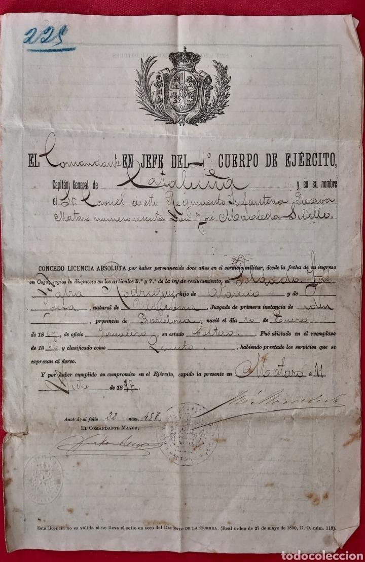 LICENCIA 1898 POR CMTE JEFE 4° CUERPO DEL EJERCITO. SELLO DEPOSITO DE GUERRA. JOSE FABRA RODRIGUEZ (Militar - Propaganda y Documentos)