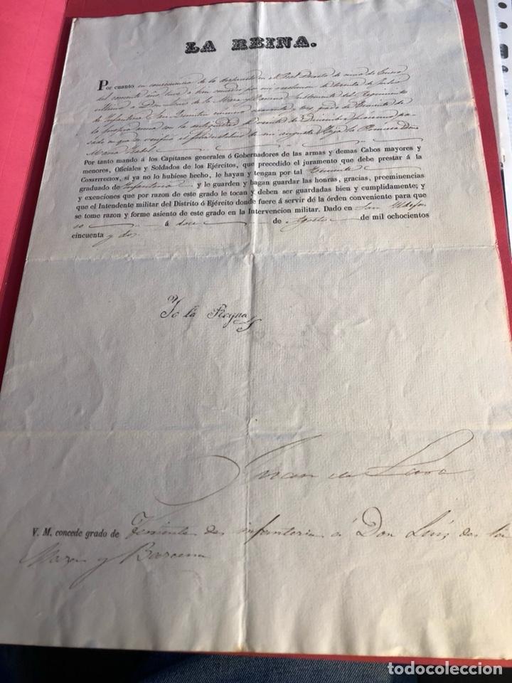Militaria: Concesión de teniente de infantería, Isabel II - Foto 2 - 199663641