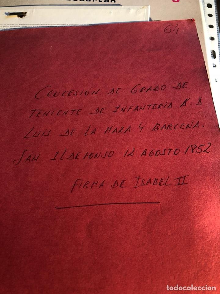 CONCESIÓN DE TENIENTE DE INFANTERÍA, ISABEL II (Militar - Propaganda y Documentos)