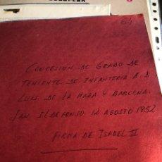 Militaria: CONCESIÓN DE TENIENTE DE INFANTERÍA, ISABEL II. Lote 199663641