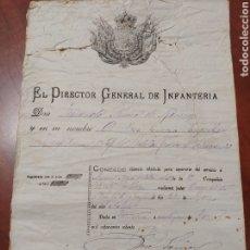 Militaria: DOCUMENTO ANTIGUO, GENERAL FERNANDO PRIMO DE RIVERA 1886. LICENCIA. Lote 199770612