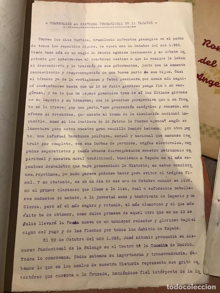 Militaria: Curiosos documentos de la centuria Luis Moscardó escuadra García Morato portadas pintadas a mano - Foto 4 - 203134598