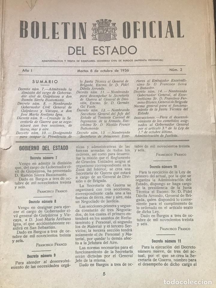 BOLETÍN OFICIAL DEL ESTADO 1936 EDITADO EN BURGOS NÚMEROS TEMPRANOS (Militar - Propaganda y Documentos)