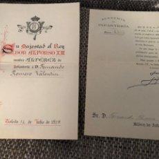 Militaria: NOMBRAMIENTO ALFEREZ INFANTERIA 1920 EPOCA ALFONSO XIII. Lote 203370168