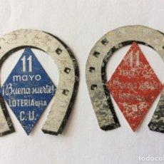 Militaria: 2 HERRADURA DE LA SUERTE. LOTERÍA DE LA C.U. CIUDAD UNIVERSITARIA, MADRID. REPUBLICA O GUERRA CIVIL.. Lote 203921388