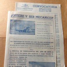 Militaria: CONVOCATORIA E INFORMACION DEL EJERCITO DEL AIRE.ESCUELAS ESPECIALISTAS DEL AIRE DE LEON.AÑO 1956.. Lote 204167723