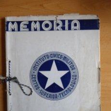 Militaria: MEMORIA INSTITUTO CÍVICO MILITAR CENTRO SUPERIOR TECNOLÓGICO. CUBA 1938 BATISTA. Lote 204413477
