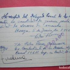 Militaria: DIVISION AZUL.-PEDRO FLORES CASANOVA.-EX-COMBATIENTE DIVISION AZUL.-SOCORRO DE MARCHA.-AÑO 1944.. Lote 204480447