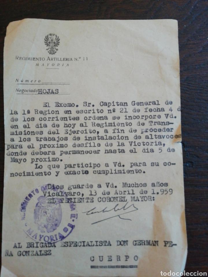 ORDEN DE INCORPORACIÓN PARA EL DESFILE DE LA VICTORIA 1959 (Militar - Propaganda y Documentos)
