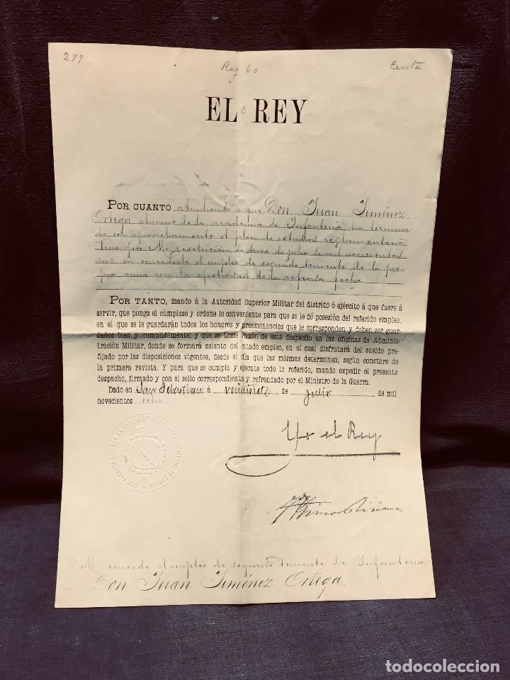 DOCUMENTO MILITAR ÉPOCA ALFONSO XIII CONCEDIENDO EMPLEO 2º TENIENTE INFANTERÍA JIMÉNEZ ORTEGA 1908 (Militar - Propaganda y Documentos)