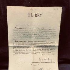 Militaria: DOCUMENTO MILITAR ÉPOCA ALFONSO XIII CONCEDIENDO EMPLEO 2º TENIENTE INFANTERÍA JIMÉNEZ ORTEGA 1908. Lote 204809017