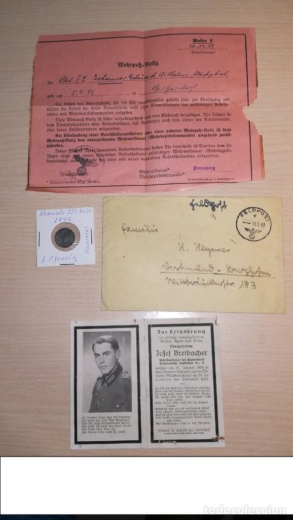 LOTE DOCUMENTOS ALEMANES+MONEDA, EPOCA III REICH (Militar - Propaganda y Documentos)