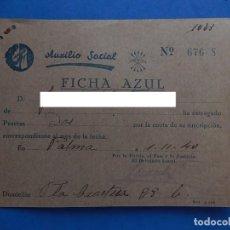 Militaria: RECIBO CUOTA. AUXILIO SOCIAL. FICHA AZUL. PALMA DE MALLORCA. BALEARES.1940.. Lote 205127481