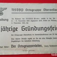 Militaria: INVITACION NSDAP 10 ANIVERSARIO CREACION GRUPO OBERVELLACH .EPOCA III REICH. Lote 205368123