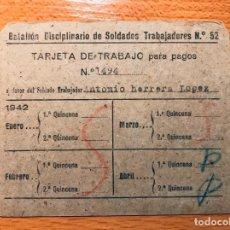 Militaria: BATALLON DISCIPLINARIO DE SOLDADOS TRABAJADORES Nº 52. Lote 205724118