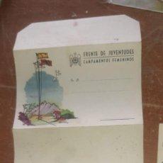 Militaria: SOBRE ANTIGUO FRENTE DE JUVENTUDES CAMPAMENTOS FEMENINOS 1942 SIERRA DEL AGUA MÁS POSTALITA. Lote 205828440