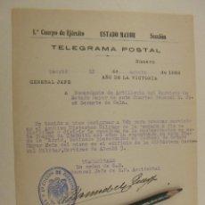 Militaria: TELEGRAMA DE 1ER CUERPO DE EJERCITO ESTADO MAYOR FIRMADO POR MANUEL M.QUEYPO 1939 AÑO DE LA VICTORIA. Lote 205847123