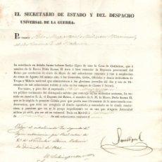 Militaria: CONCESION DE CRUZ DE DISTINCION POR SU PARTICIPACION EN VALENCIA EN LA I GUERRA CARLISTA. 1841. Lote 206126833