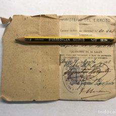 Militaria: MILITAR. MINISTERIO DEL EJÉRCITO. TALONARIO DE 50 VALES.., PARA VIAJES POR FERROCARRIL (A.1943). Lote 206301692
