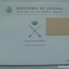 Militaria: MINISTERIO DE DEFENSA - EJERCITO DE TIERRA : ESCALAFON OFICIALES GENERALES . 1 ENERO 2002. Lote 206303323