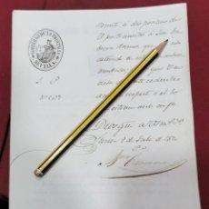 Militaria: SEVILLA, 1870, PASE EMITIDO POR GOBIERNO DE LA PROVINCIA, TRASLADO DETENIDO , GUARDIA CIVIL. Lote 206389921