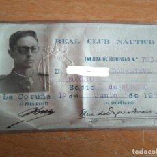 Militaria: CARNET CLUB NAUTICO LA CORUÑA - ARISTOCRATA, MILITAR DE ALTO RANGO (DONESTEVE BORDIÚ). Lote 206870412