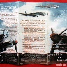 Militaria: ANTIGUO FOLLETO TRIPTICO. EL EJERCITO DEL AIRE. AYUDANTE DE ESPECIALISTA. AÑOS 50.. Lote 207077237