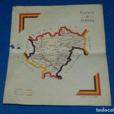 Militaria: (M) MAPA REPUBLICANO - PROVINCIA DE TERUEL, EDT RIVADENEYRA, MADRID 28X24CM, REPUBLICA. Lote 207198555