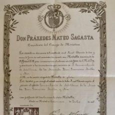 Militaria: CERTIFICADO USO MEDALLA JURA DEL REY ALFONSO XIII A COMANDANTE DE LA ARMADA - MATEO SAGASTA - 1902. Lote 207522526