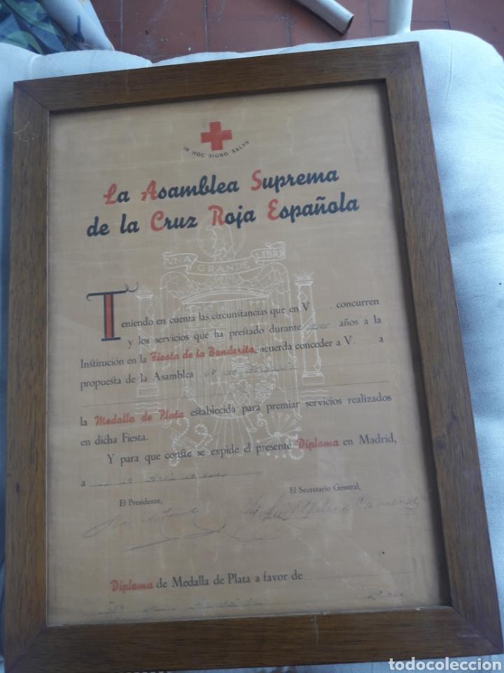 ANTIGUO DIPLOMA ENMARCADO, ASAMBLEA SUPREMA DE LA CRUZ ROJA ESPAÑOLA (Militar - Propaganda y Documentos)