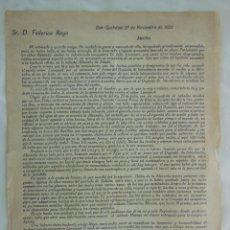 Militaria: RAMÓN GIMENO A FEDERICO ROYO, SOBRE LA ACTUACIÓN DE JULIO LEOMPART EN LA ALCAZABA DE ZELUAN 1922. Lote 209947725