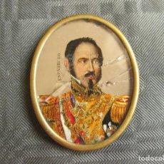 Militaria: MARCO ANTUGUO EN MINIATURA CON LA LÁMINA DEL GENERAL ESPARTERO - CARLISTA. Lote 210077345