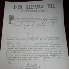 Militaria: CONCESION DE LA CRUZ DE SAN HERMEREGILDO. ALFONSO XII. YO EL REY. 1885. Lote 210148323