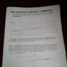 Militaria: NOMBRAMIENTO DE ALFEREZ DE INFANTERIA. REGENTE DEL REINO. FRANCISCO SERRANO. 1870. Lote 210148516