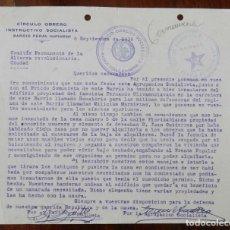 Militaria: DOCUMENTO DEL CIRCULO OBRERO INSTRUCTIVO SOCIALISTA, BARRIO PERAL (CARTAGENA), SEPTIEMBRE DE 1936, G. Lote 210227883