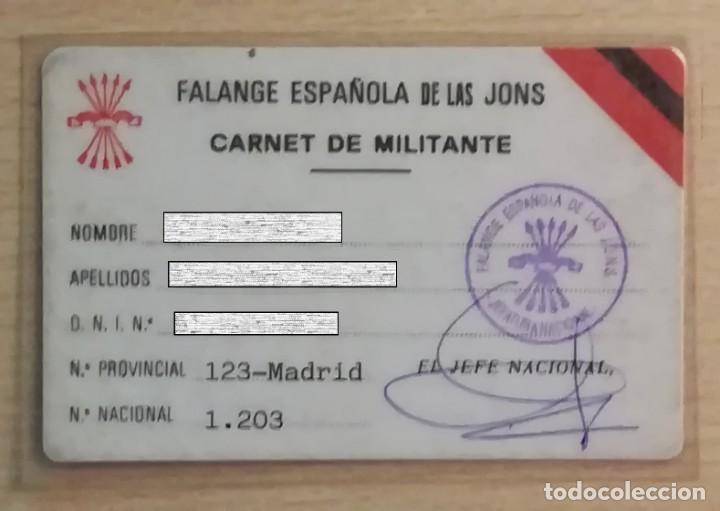 CARNET DE MILITANTE DE FALANGE (Militar - Propaganda y Documentos)