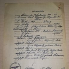 Militaria: DOCUMENTO ALEMAN, AÑO 1944.EPOCA III REICH. Lote 210616290
