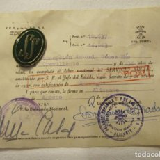 Militaria: CERTIFICADO DE SERVICIO SOCIAL DE LA MUJER E INSIGNIA - SECCION FEMENINA FALANGE - ALICANTE. Lote 210674255