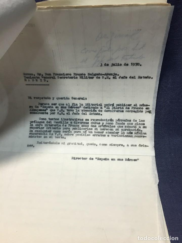 Militaria: documento francisco franco caudillo generalisimo de su mano diario alhucemas españa y sus heroes - Foto 2 - 212250058