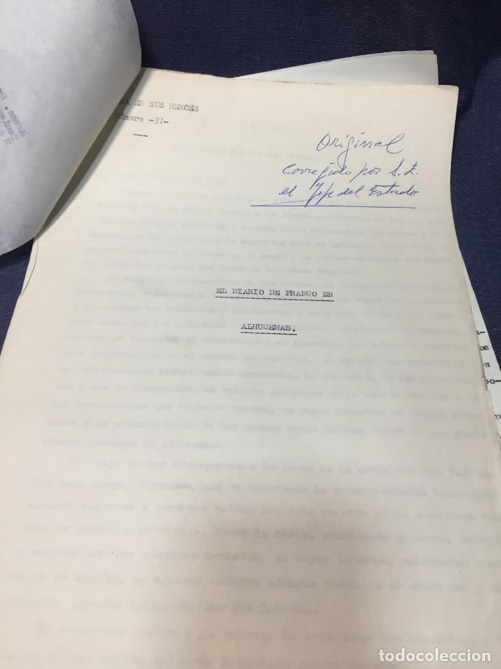 Militaria: documento francisco franco caudillo generalisimo de su mano diario alhucemas españa y sus heroes - Foto 4 - 212250058
