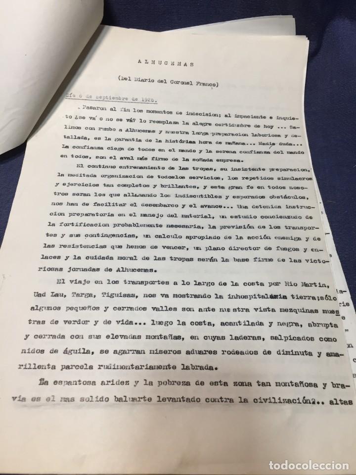 Militaria: documento francisco franco caudillo generalisimo de su mano diario alhucemas españa y sus heroes - Foto 19 - 212250058
