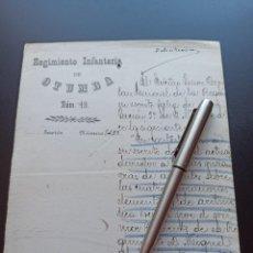 Militaria: REGIMIENTO INFANTERÍA OTUMBA. 1902. FELICITACIÓN. MMI. Lote 212667067